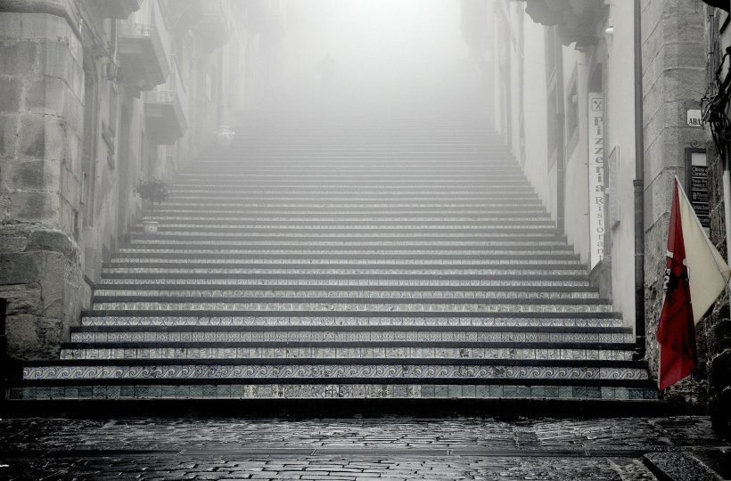Steps into mist